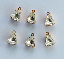 VINTAGE 6 CRYSTAL CLEAR GLASS BELL TINY BEAD DOLL BEADS DROPS PENDANTS • 8x6mm