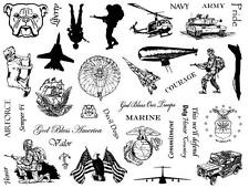 8 1/2 x 11 MILITARY rubber stamp sheet, soldier, army, navy, marines, jets CMS#4