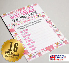 Baby Shower Word Scramble Game - 16 A6 Party Cards - Pink Watercolour Design