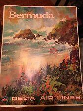 "Original Vintage Jack Laycox Poster Bermuda 22"" x 28"" Delta Airlines"