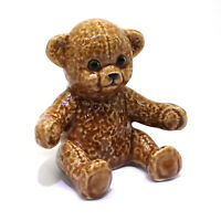 Ceramic Teddy Bear Figurine Decoration Hand Painted Miniature Statue Collectible