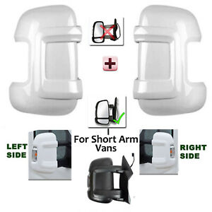 Gloss White Wing Mirror Cover Protector ( LONG Arm Vans ) For Peugeot Boxer FITS