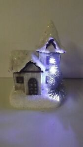 New Lighted Winter Lodge Two Story House With Tree 2422880 Battery Operated