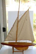 "Vintage Pond Boat Yacht Model Wooden Sailboat Restoration 25"" Hallow Wood Hull"