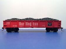 "HO Scale ""Burlington Route"" E3141 Open Gondola Freight Train W/ Coal Load"
