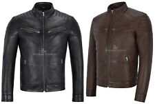 Mens Biker Leather Jacket 100% Real Leather SOFT AND PRIME LEATHER 8334