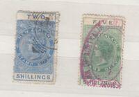 New Zealand QV 2/- 5/- Fiscals J8947