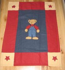 "Blue Jean Teddy Bear Infant Appliqued Fleece Baby Blanket 42"" x 32"" Red Overalls"