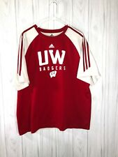 Adidas Wisconsin Badgers Red and White Tee Shirt Men's Xl Collage