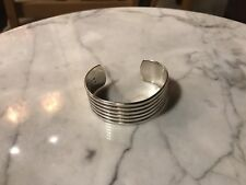 Sterling Silver Wide Cuff Bracelet Vintage Mexico Marked
