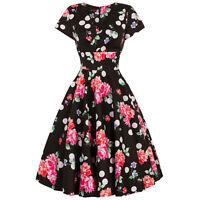 Hell Bunny Collarette Pink Floral Dot 1950s Retro Rockabilly Vintage Swing Dress