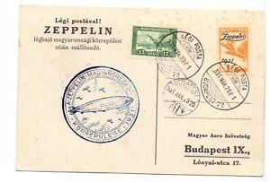 HUNGARY 1928 CARD ZEPPELIN FLOWN 1p ZEPPELIN + 12f AIR