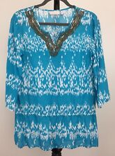 Chico's size 2 pullover tunic beaded neckline 3/4 sleeved blue and white