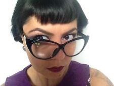Lunettes papillon cats eye retro yeux chat vintage pinup noir verre transparent