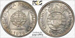 Mozambique 1938 AU58 silver 10 Escudos in PCGS holder