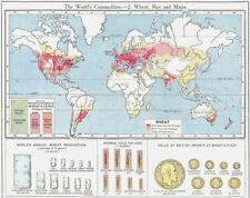 WORLD. Commodities - Production & sources of Wheat Rye & Maize 1907 old map