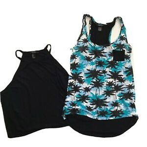 Tank Top Lot Small Rue 21 Palm Tree Rayon Forever 21 Cropped Black Festival S