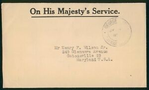 Mayfairstamps Cayman Islands 1950s Georgetown OHMS to Maryland USA Cover wwr2698