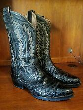 Vintage Montana Black Wide Scale Python Boots Sz 11 D **New Vibram Sole & Heels