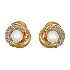 Damenohrringe GG 585/ 3,1 gr. Zuchtperlen, 2 Diamanten zus. ca. 0,01 ct. Stecker