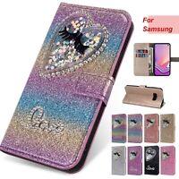 Bling Flip Stand Flip Leather Card Wallet Case Cover For Samsung J3 J4 J5 J6 J7