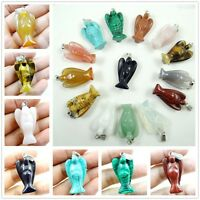 Natural Mix Agate Rose Quartz Gemstone Carved Angel pendant Bead Making necklace