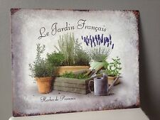"French Country Style Plaque "" Le Jardin Francais "" Herbes De Provence Sign"