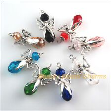 8 New Tibetan Silver Tone Charms Mixed Crystal Angel Wings Pendants 18x34mm