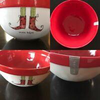 "Rae Dunn Artisan Collection Santa's Helper Elf Feet Christmas 10"" Bowl"