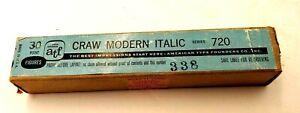 Vtg Rare Letterpress Foundry TYPE Printing 30 Pt CRAW MODERN ITALIC Lead Figures