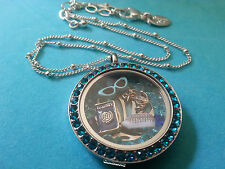 NEW ORIGAMI OWL Necklace w/ rare blue zircon face, cruise ship charm  + more