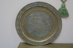 "Vintage Copper Hand Etched Ethnic Kings Tray Ghalamzani 19"" Plate Middle Eastern"