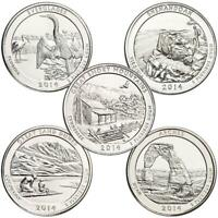 2014-S 25c America the Beautiful Quarter 5-Coin Set Uncirculated Mint State