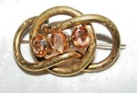 Antique Victorien Pinchbeck Amants Anneau 3 Pierres Broche / Épingle Citrine