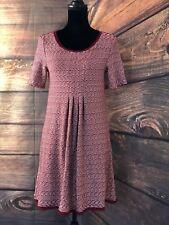 Women's Anthropologie Maeve Maroon Dora A-line Dress Textured Zig Zag Raw Hem S