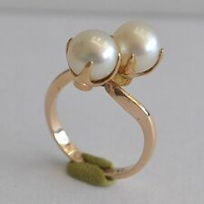 100/% Natural 14K White Yellow Rose Gold Custom Pearl Fashion Ring R322