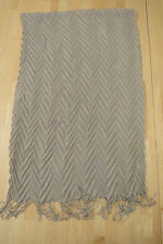 TAN BEIGE 3D CHEVRON PLEATED ACRYLIC KNIT SCARF SHAWL WRAP 18 X 60""