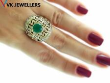 Turkish Ottoman 925 Silver Jewelry High Quality Emerald Ring Size 8 R2802