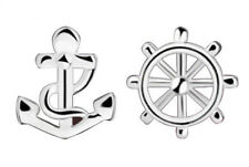 Anchor and Ships Wheel Stud Earrings. Pirate Captain Ear Rings  FREE POSTAGE