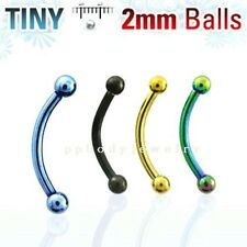 """1pc.18g~5/16"""" Tiny 2mm Balls Titanium Anodized 316L Steel Curved Eyebrow Barbell"""