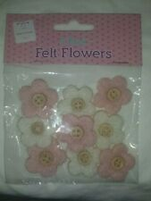 Brand New Make & Create FELT FLOWERS ~ Pink & White (9 pack)