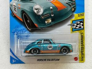HOT WHEELS 2021 SUPER TREASURE HUNT PORSCHE 356 OUTLAW #7/10 WITH RUBBER TIRES