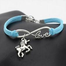 Vintage Animals Silver Lucky Horse Unicorn Charms Love Women Bracelet Gifts(627)