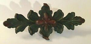 """Antique Architectural Cast Iron Floral Light Fixture Ornate Bracket 9"""" Long"""
