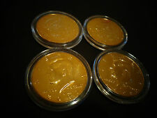 LOT OF 4* 24 K  GOLD PLATED JFK KENNEDY HALF DOLLAR COIN SET -AIR TIGHT  CAPSULE