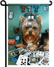 Yorkie painting Lucky Dog Garden Flag Casino Poker Dog Art Yorkshire Terrier