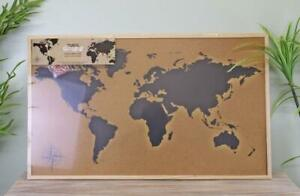 Large Framed Travel Corkboard World Map with Red Pins, 90x60cm Message Pin Board