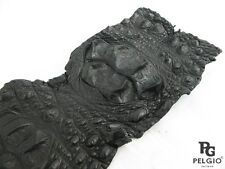 "PELGIO Genuine Crocodile Hornback Back Skin Leather Hide Pelt 5""x42"" Black"