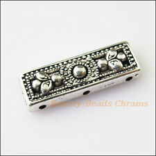 5Pcs Antiqued Silver Tone 3Holes Flower Spacer Beads Bar Charms Connector 9x26mm