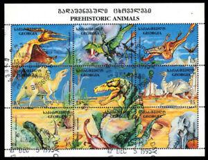 "GEORGIA 135 - Prehistoric Animals ""Miniature Sheet of Nine"" (pa52112)"